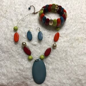 🧡💙Neclace, earrings & bracelet set